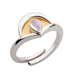 """Ring """"Intuition"""", teilvergoldet mit Mondstein"""