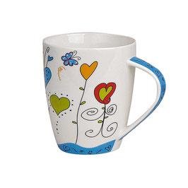 "Tasse ""Blaue Herzen"" aus Porzellan"
