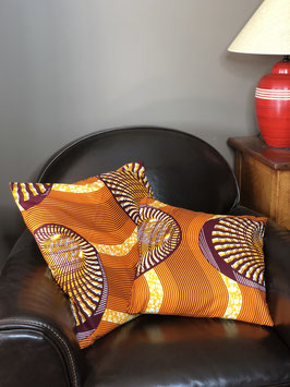Housse de Coussin en Wax - Orange & Marron