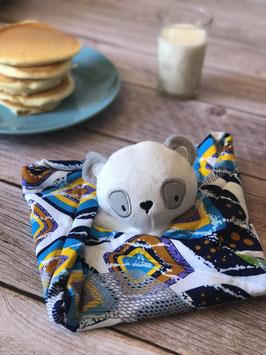 Doudou Waxou - Panda Blanc et Multicolore