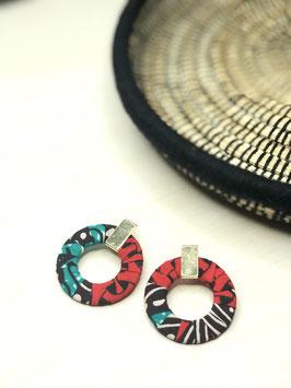 Boucles d'Oreilles Créolia - Rouge et Turquoise