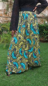 Jupe Longue en Wax - Fleurs de Mariage Bleu Vert