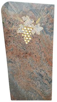 Grabmal mit handwerklich eingearbeitetem Traubenornament