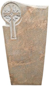 Grabmal mit handwerklich eingearbeitetem Kreuzornament