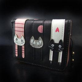 Artikel-Nr. 22 J - Geldbörse schwarz-weiß-pink-grau mit Katzenmotiv