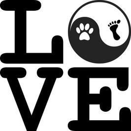 Artikel-Nr. 014B - Aufkleber Motiv Love-Yin-Yang-Pfote-Fuß