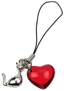 Artikel-Nr. 018F Handyanhänger Katze mit Herz