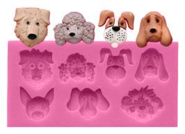 Artikel-Nr. 052F Silikonform Hundeköpfe für 7 Leckerlis