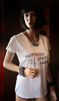 Artikel-Nr. 024B - Damen-T-Shirt mit Tierschutzmotto