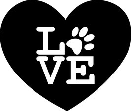 Artikel-Nr. 014A - Aufkleber Motiv Herz-Love-Pfote
