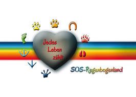 Artikel-Nr. 022B - Aufkleber für den Tierschutz - Motiv Logo SOS-Regenbogenland