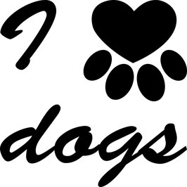 Artikel-Nr. 014E - Aufkleber Motiv I love dogs