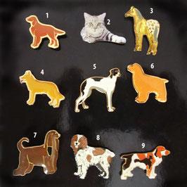 Artikel-Nr. 044B - Ansteckpins, Motiv Hunde, Katze, Pferd