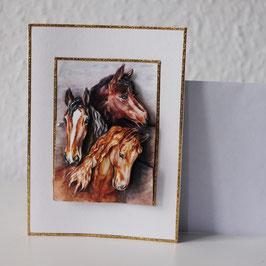 Artikel-Nr. 37D - 3D-Grußkarte Motiv Pferdeköpfe 1