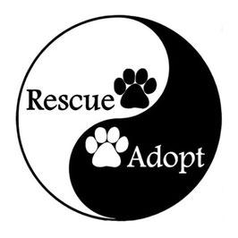 Artikel-Nr. 014N - Aufkleber Motiv Yin Yang Pfote rescue adopt
