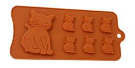 Artikel-Nr. 052E Silikonform Katzen für 7 Kekse oder Schoko-Pralinen