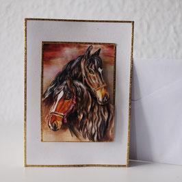 Artikel-Nr. 37E - 3D-Grußkarte Motiv Pferdeköpfe 2