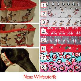 Artikel-Nr. 38 W - Martingale Halsband mit Zugstopp - Winterstoffe