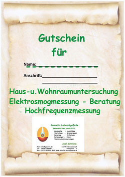 Gutschein - Haus und Wohnraumuntersuchung oder Geomantie Ausbildung  Modul I