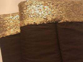 Bandagierunterlagen braun mit Pailleten Bordüre champagne