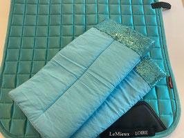 Bandagierunterlagen aqua mit Pailleten Bordüre