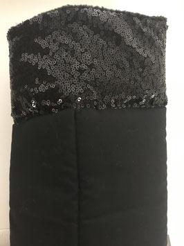 Bandagierunterlagen schwarz mit Pailleten Bordüre schwarz