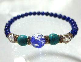 商品名:青龍彫り水晶×ラピスラズリ×トルコ石ブレスレット RN190513