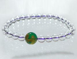 商品名:金龍彫りグリーン瑪瑙×水晶ブレスレット RN190509