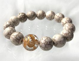 商品名:金龍彫り水晶×ホワイトターコイズブレスレット RN059