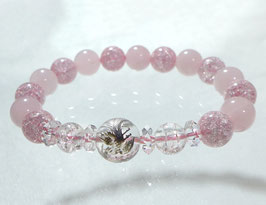商品名:銀龍彫り水晶×ローズクオーツブレスレット RN190507