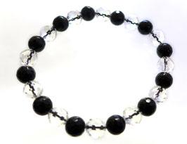 商品名:オニキスと水晶水晶のブレスレットB904196