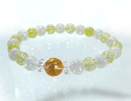 商品名:金龍彫り水晶×フロストとクラックイエロー水晶ブレスレット RN190510