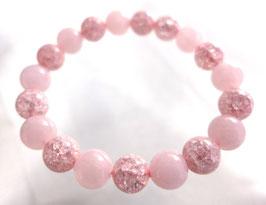 商品名:ローズクオーツとピンククラック水晶のブレスレットB904195
