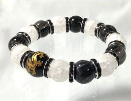 商品名:金龍彫りのオニキス×フロストクラック水晶ブレスレット RN062