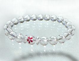 商品名:天然クラック水晶の桜彫りブレスレットB190518