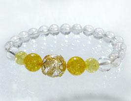 商品名:金龍彫り水晶×イエロー水晶ブレスレット RN190508