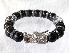商品名:銀龍チャーム×白虎×玄武 ブラックガーネットと水晶のブレスレット RN009