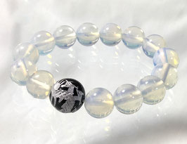 商品名:銀龍彫りのオニキス×ホワイトオパールブレスレット RN061