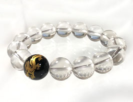 商品名:金龍彫りオニキス×水晶ブレスレット RN067