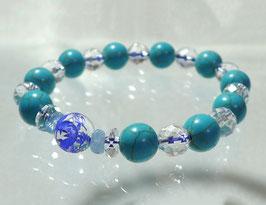 商品名:青龍彫り水晶×ターコイズブレスレット RN190503