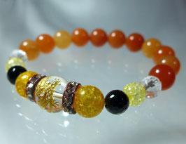 商品名:金龍彫り水晶とオレンジアベンチュリンのブレスレット RN081