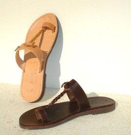 Zehenring Sandale mit geflochtenem Lederband