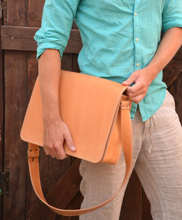Handmade natural full grain leather briefcase, satchel book bag, schoolbag, notebook bag or messenger bag