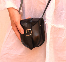 Handmade natural leather mini purse in brown or black