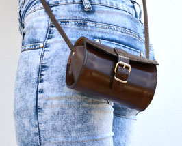Handmade full grain small round leather barrel bag
