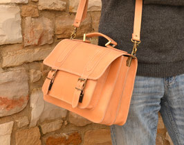 Handmade natural leather briefcase laptop bag messenger bag bookbag