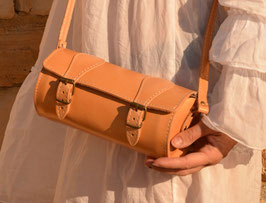 Handmade full grain round leather barrel bag