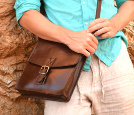 Handmade full grain leather messenger satchel bag, briefcase, laptop bag