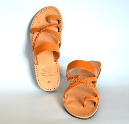 Toe loop sandal with braided cross band