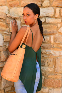 Handmade leather tote bag shopper with zipper and lining